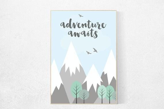 Adventure Awaits Adventure Nursery Decor Mountain Nursery