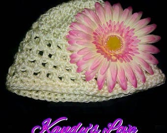Cream Baby Beret with Pink and Cream Daisy