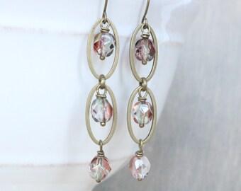 Bronze Dangle Earrings, Faceted Glass Earrings, Oval Earrings, Drop Earrings, Bronze Jewelry, Bronze Earrings, Boho Earrings, Gift for Her