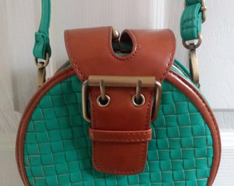 Charming Charlie small green/brown round crossbody purse Super cute Round shape