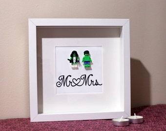 Mr and Mrs Hulk and She Hulk Superhero Lego Wedding Wall Box frame, Wedding Day Gift, Anniversary Gift, Valentine's Marvel comic book lovers