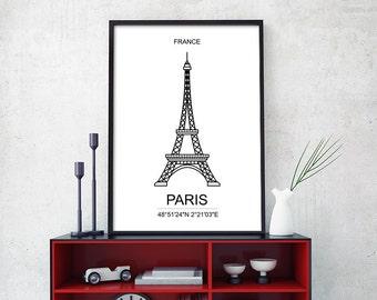 Paris Skyline Large 24x36 Print, Black and White Paris Minimalist Poster, Paris Geometric, France Print, France Poster, 18x24 (W0138)