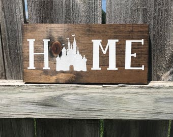 The Original ** MINI Disney Home Sign on Stained Wood Hand Painted Disney Home Decor.