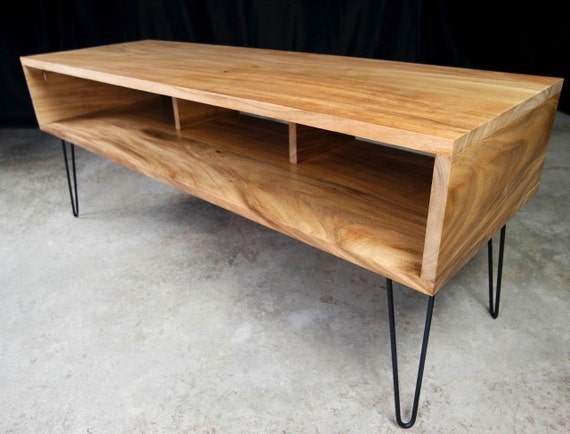 Mid Century Modern Monkey Pod TV Console Table