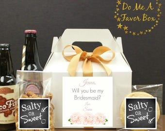 "Gable Boxes, 6 ""Will You Be My Bridesmaid"" Gift Boxes with Labels, Bridesmaid Good Box, Bridal Party Gifts, Favor Boxes, Wedding Favor Box"