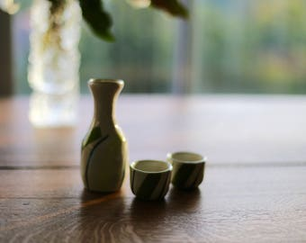 3 pcs Sake set 【1 bottle + 2 cups】 Japanese Porcelain Sake Flask Set | Tokkuri Guinomi |  Nihonshu | Housewarming gift | Father's day gift