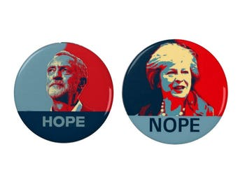 Jeremy Corbyn / Theresa May - Pin Back Badge/Fridge Magnet - #MayMustGo - Political - Protest