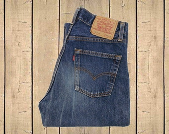 Vintage Levis 517 Jeans UK Made 1990s Faded Dark Blue Denim Button Fly Straight Leg Measure as W30 L32