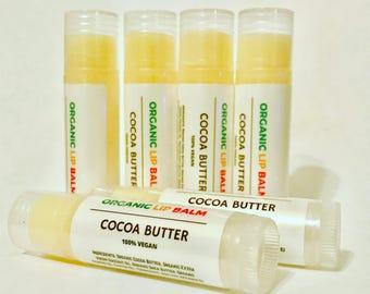 Two (2) Cocoa Butter Vegan Lip Balm, Organic Lip Balm, Natural Lip Balm, Chapstick, Vegan Gift, Organic Coconut Oil, Shea Butter Lip Balm