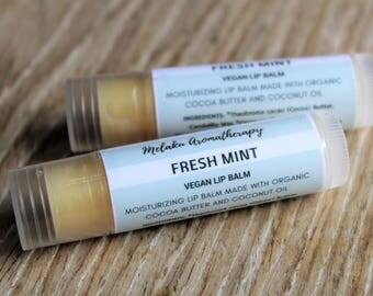 Two (2) Vegan Lip Balm, Vegan Chapstick, Vegan Gift, Peppermint Lip Balm, Shea Butter Lip Balm, Organic  Lip Balm, Natural Lip Balm