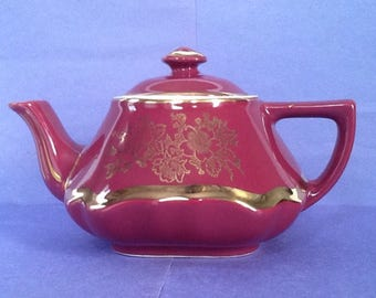 SALE Hall Maroon Raspberry Squat Teapot, Baltimore Six Cup Teapot, Made in the U.S.A.