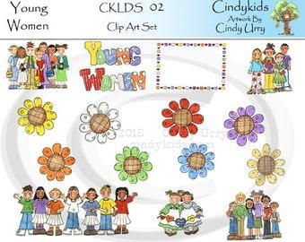 LDS Young Women Clip Art CKLDS02-Original Artwork By Cindy Urry  .PNG Files
