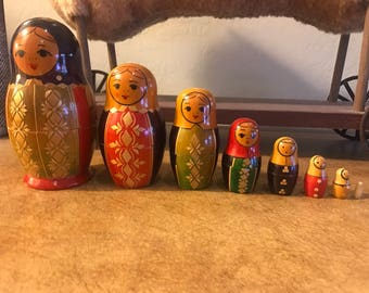 Beautiful Vintage Mateyoshka Nesting Dolls - Set of 8 - Inlay Design