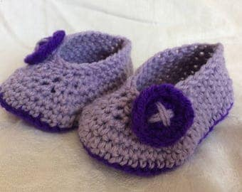 Handmade baby booties, crochet booties, newborn, new baby, baby shower, booties, baby, toddler, button, new baby gift, purple, baby girl