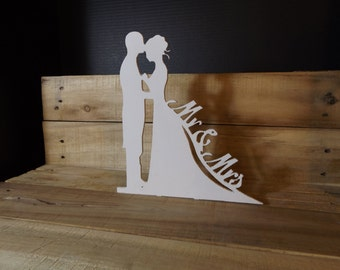 silhouette Wedding Mr and Mrs wedding cake topper