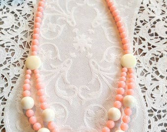 PRETTY IN PINK Signed Vintage Trifari Necklace-Double Strand with off White Buttons and Balls-Beaded-All Orders Only .99c Shipping!!