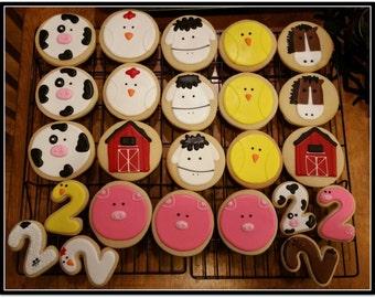 Barnyard Animals Cut Out Sugar Cookies - 1 Dozen