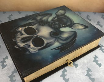 Distressed Lockable Gothic Vampire Bat Black Chihuahua & Skull, Fallen Angel, Book Trinket Box