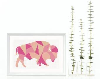 Bison Cross Stitch Pattern Buffalo Polygon Animal Collage Geometric Tribal Decor Modern Cross Stitch Beginner Instant Download PDF Mosaic