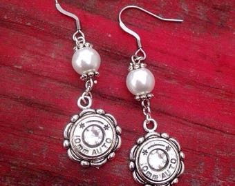 Bullet And Pearl Dangle Earring