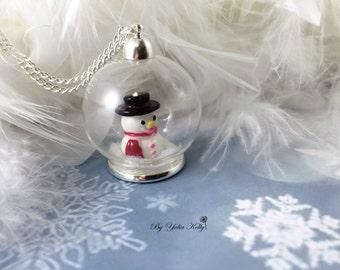 Glass globe necklace, Christmas Necklace, Snowman Necklace, snowy necklace, glass ball necklace, handmade glass necklace,Christmas Jewelry