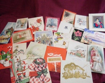 22 Vintage 1950s Christmas Greeting Cards Happy Holidays New Year 2 From Hawaii