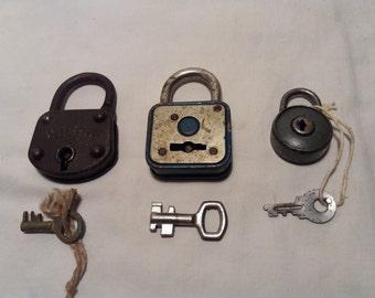 Three Vintage Metal Padlocks with Keys