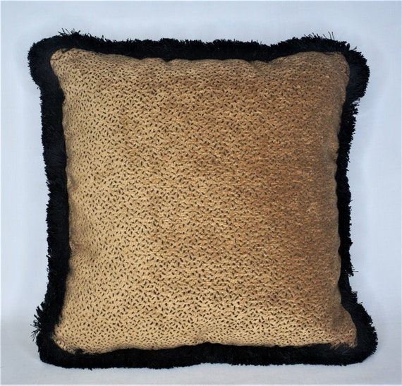 Black Throw Pillows With Fringe : Solid chenille gold black dot throw pillow with black fringe
