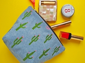 Embroidered Cactus Denim Make Up Bag