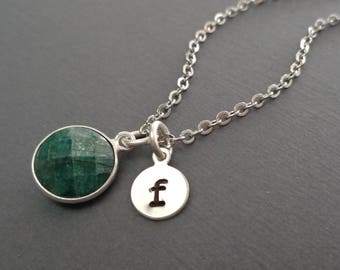 Emerald Necklace Silver Initial/May Birthstone Initial Necklace/Natural Emerald Bezel Silver/20th Anniversary/Gemstone Necklace May//BE39