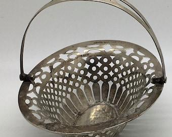 Antique Edwardian Sterling Silver Basket Pierced With Hinged Handle Candy Nut Mint Bonboniere Jewelry Ring Trinket Holder Bowl Easter Basket