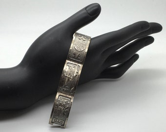 "Vtg Mexican Sterling Silver 5 Panel Bracelet Story Teller Quetzalcoatl Pyramid Aztec Sun Calendar Burro With Hombre 6 1/4 "" x 11/16 """