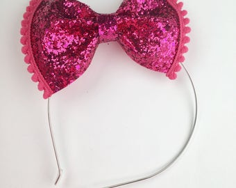 Pink, magenta Glitter bow, pom pom metal headband with rubber tips