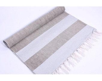 Carpet rug cotton stripes grey-silver