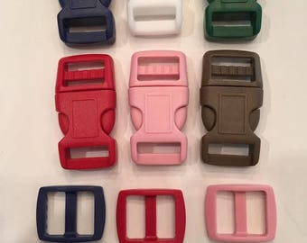 """6 Pack 5/8"""" Curved Side Release Plastic Buckles and Slides - One of Each Color Shown"""