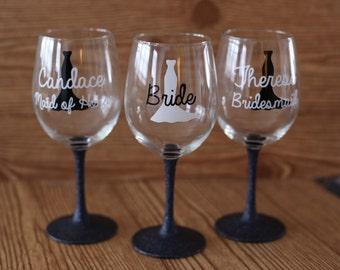 set of 3 bridesmaid wine glasses, set of 3 bridesmaid glasses, glitter stem wine glasses, glitter dipped bridesmaid wine glasses, bridesmaid