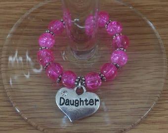 Handmade daughter wine glass charm