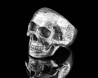 Sterling Silver Large Skull Head Mens Biker Statement Ring