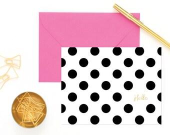 8 Polka Dot Hello Note Cards   Black and White   Polka Dot Stationery   Hello notecard    Bonjour notecard    Hola notecard
