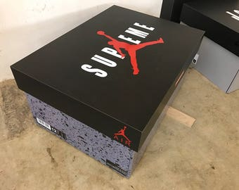 Custom Giant Jordan 5 Retro Supreme OG Giant Shoebox Shoe Storage Box Shoe box Large Big Oversized Shoe Storage Jordan 5 Cement Supreme AIR