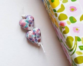 Lampwork Hearts - Heart Beads - Bead Pair - Glass Hearts - Pastel Beads - Glass Beads - Lampwork Beads - Lampwork Glass - Handmade Beads -
