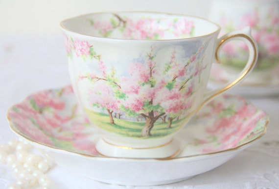 Vintage Royal Albert Bone China 'Blossom Time' Gentleman Size Cup and Saucer, Beautiful Pink Blossom Trees Decor, England