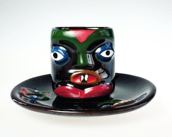 Redware Tiki God Tea Cup Saucer Hand Painted Brown Lustre Luster Vintage