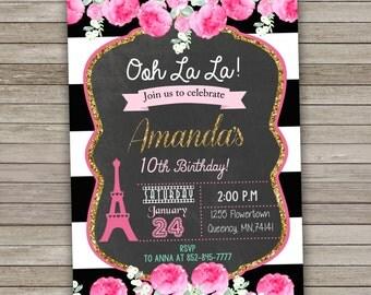 Paris Invitation, Paris Birthday Party Invitation Printable, Paris Invite, Chalkboard Invitation, Paris Party,