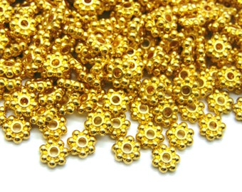 100pc, 6mm, Gold Snowflake Flower metal spacer beads, bohemian style spacers, ancient rustic #SPCR-003
