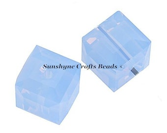 Swarovski Crystal Beads 12 Pcs 5601 AIR BLUE OPAL 4MM Faceted Cube Elements Bead