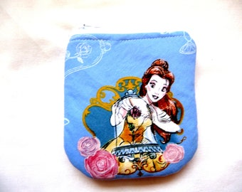 New! curved coin purse with princess and rose made from childrens fabric