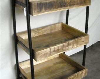 Cart Auxiliar  3 Shelves  Industrial Reclaimed Wood Rustic Farm