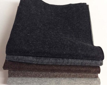 "18"" x 18"" Variety 6-Pack Heather Colors Merino Wool Felt – Heather Black, Charcoal, Dark Brown, Brown, Grey, White"
