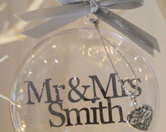 Our First Christmas as Mr and Mrs Personalised Baubles Xmas Tree Decorations